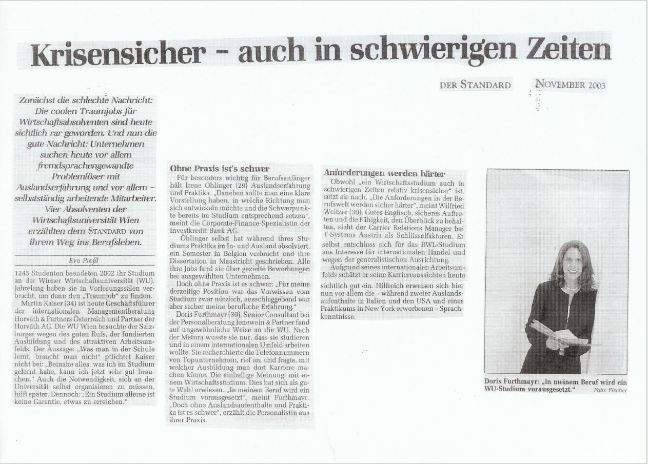 2003_11_Göbl_Standard_Krisensicher auch in schwierigen Zeiten